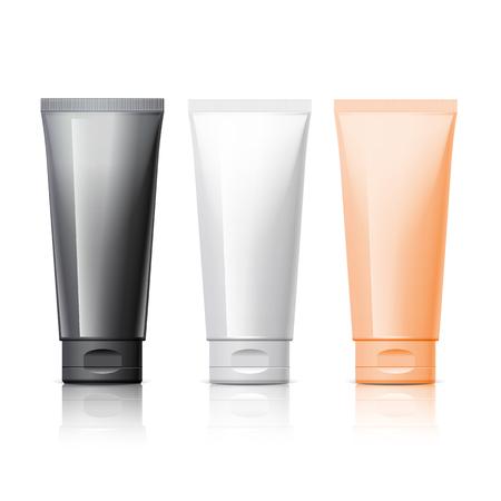 Tubo realista. Conjunto de productos cosméticos sobre un fondo blanco. Envase de cosméticos para la crema, sopas, espumas, champú, pasta de dientes, pegamento. ilustración vectorial Foto de archivo - 87662767
