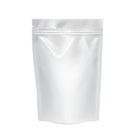 White realistic Polyethylene bag with Hang Slot. Stock Photo