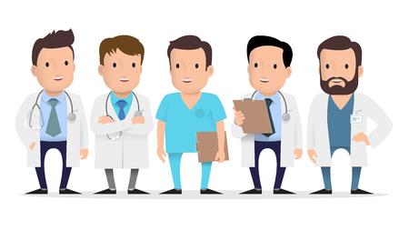 의사, 의료 노동자, 다른 포즈와 제스처 응급 처치