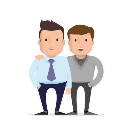 Two male friends Vector Illustration Illustration