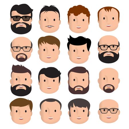 Hommes Mâle Visage Tete Coiffure Cheveux Moustache Personne chauve Mode. Concevez un avatar plat pour les médias sociaux. Illustration vectorielle Vecteurs