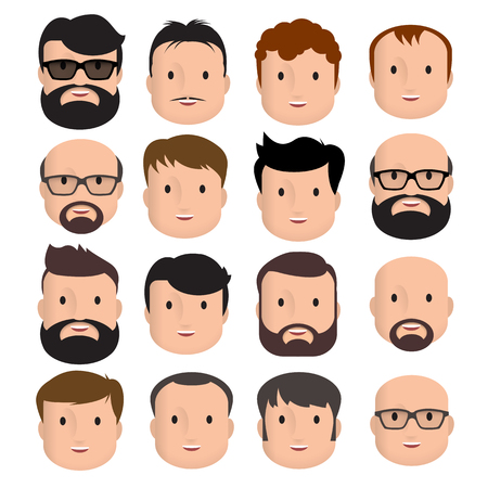 Men Male Human Face Head Hair Hairstyle Mustache Bald People Fashion. Design flat avatar for social media. Vector illustration. Çizim