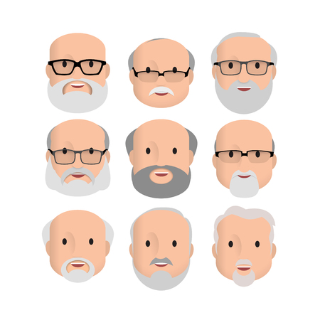 Old Men Male Human Face Head Hair Hairstyle Mustache Bald People Fashion. Design flat avatar for social media. Vector illustration 矢量图像