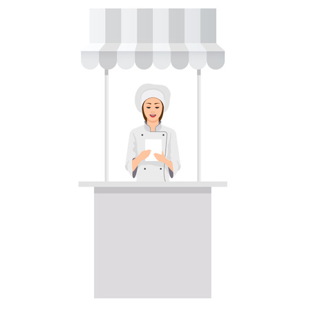 Advertising Promotion counter, Retail Trade Stand Isolated on the white background. MockUp Template For Your Design. Front view and perspective view. Vector illustration.