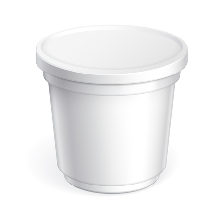 White blank plastic container forice cream, sour cream, chocolate paste and other products. Vector illustration