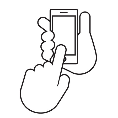 Two hands, the first hand holds the smartphone. The second hand with the index finger makes a choice. Set application template illustration of a smartphone vector illustration. Illustration