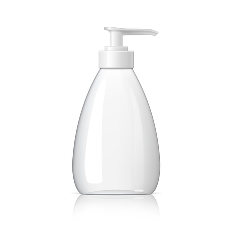 Realistic cosmetic bottle dispenser on a white background. Cosmetic package for cream, soups, foams, shampoo, glue. Mock up set for brand template. vector illustration.  イラスト・ベクター素材