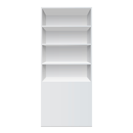 Retail Shelf Rack Front View Isolated On The White Background