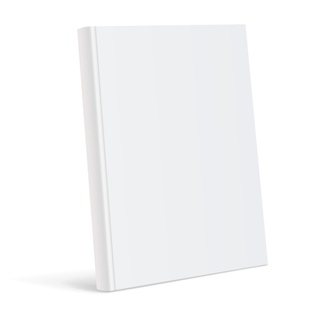 Realistic white blank book cover vector illustration. Illustration