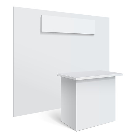White reception or information desk.
