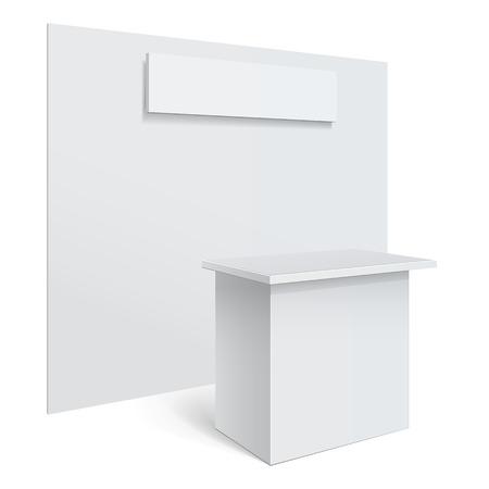 White reception or information desk.