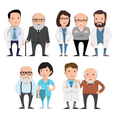 Characters doctors with elderly patients.