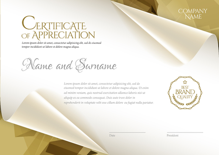 Certificate. Template diploma currency border. Illustration