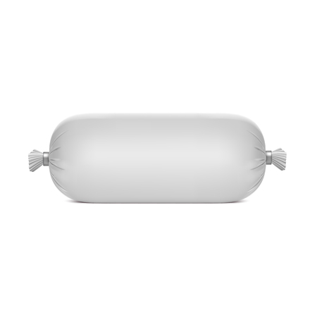 Photorealistic polyethylene packaging for sausage Vectores