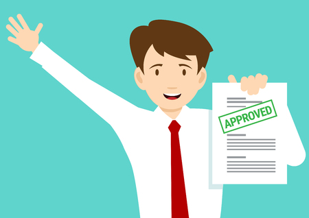 Joyful man with the adopted document. Illustration