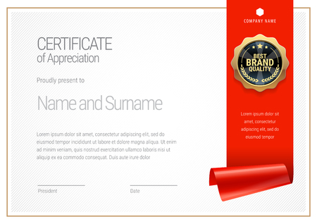 Certificate template. Diploma of modern design or gift certificate. Vector illustration.