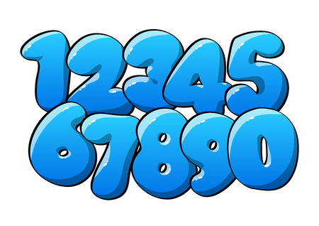 Blue Numerical digits. Holiday and party. Vector illustration
