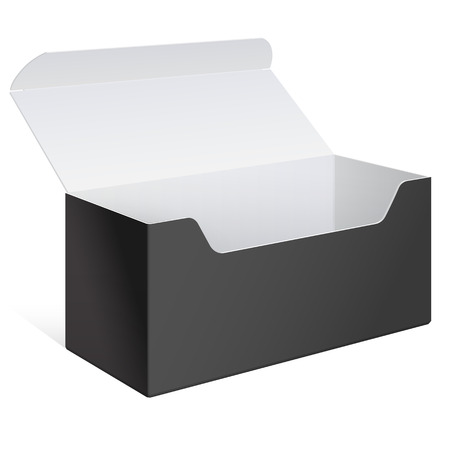 Realistic Black Open Package Box. For Software, electronic device and other products. Vector illustration.