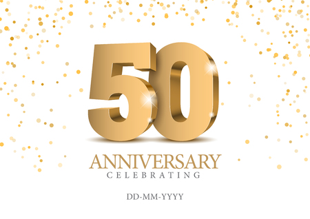 Anniversary 50. Gold 3d numbers. Poster template for celebrating 50th anniversary event party. Vector illustration