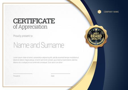 Modello di certificato con una striscia dorata. Diploma di design moderno o buono regalo. Illustrazione vettoriale. Vettoriali