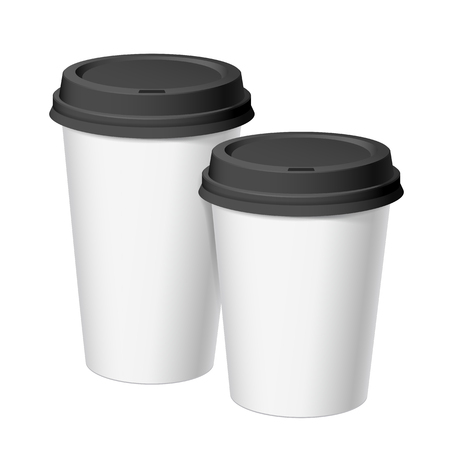 A set of white realistic disposable cups of paper with a black lid. For various hot drinks, coffee, cappuccino, tea. Standard size and large. Template of the brand. Vector illustration.