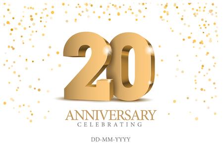Verjaardag 20. Gouden 3D-nummers. Poster sjabloon voor het vieren van het 20e-jubileumfeest. Vector illustratie