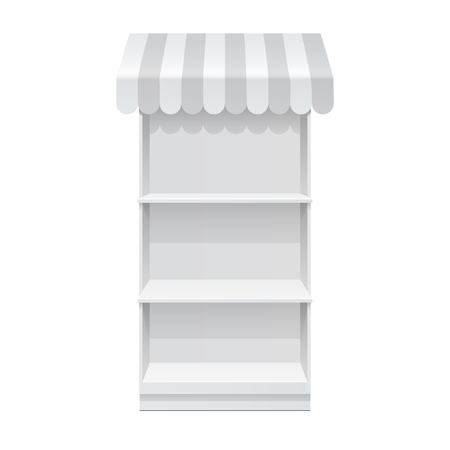Promotion counter. Advertising POS POI Display Rack Shelves For Supermarket Floor Showcase on the white background. front view. Slender white shelves. Mock Up Template. Vector illustration.