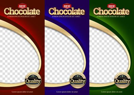 Packaging set Chocolate bar. Template branding product for packaging. Vector design. Vector design.