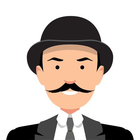 Vintage gentleman portrait. Design flat avatar for social media. Vector illustration.