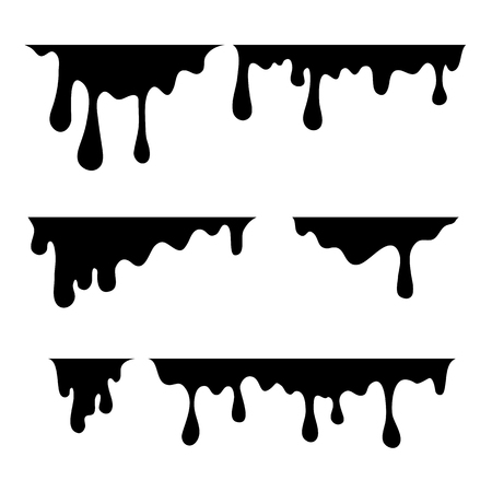 Paint dripping. Current drops. Black stains on a white background. Vector illustration. Ilustração