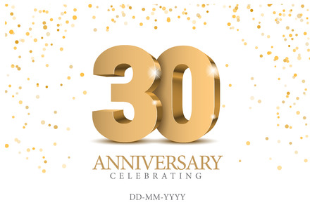 Anniversary 30. Gold 3d numbers. Poster template for celebrating 30th anniversary event party. Vector illustration Archivio Fotografico - 109807399