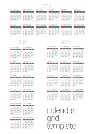 Calendar blank template for 2019 year. Different versions of the calendar grid. Vector illustration.