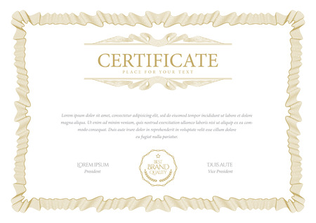 Certificate template. Diploma of modern design or gift certificate. Vector illustration. Standard-Bild - 109807403