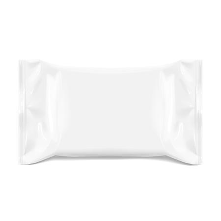 Realistische White Blank Vorlage Verpackungsfolie für Feuchttücher. realistisches Folienpaket. Paket für Lebensmittel. Vorlage für Mock up Your Design. 3D-Illustration. Vektorillustration