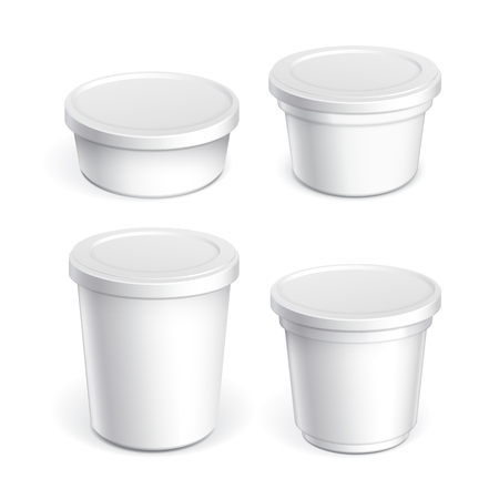 Realistic White blank plastic container for yogurt, jams and other products. Vector illustration Stock Illustratie