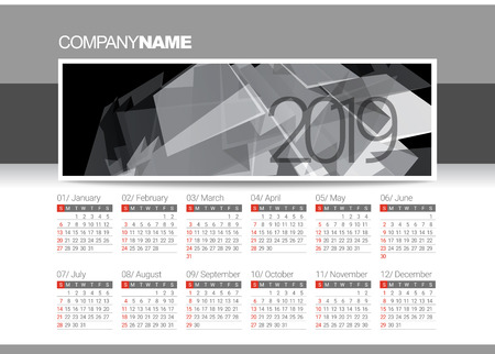 Calendar blank template for 2019 year. Vector illustration.