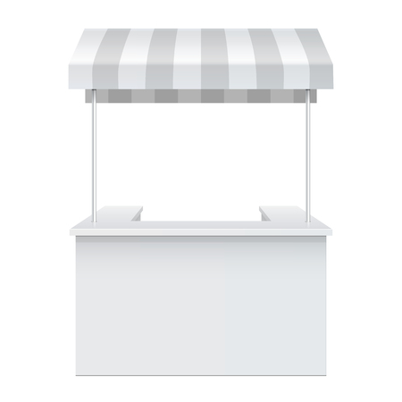 Promotion counter, Retail Trade Stand Isolated on the white background. MockUp Template For Your Design. Vector illustration. Ilustração