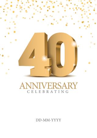 Verjaardag 40. gouden 3D-nummers. Vector Illustratie