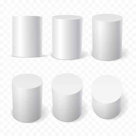 Set of white cylinders in various projections. 3d geometric shapes Vector illustration Vektorové ilustrace