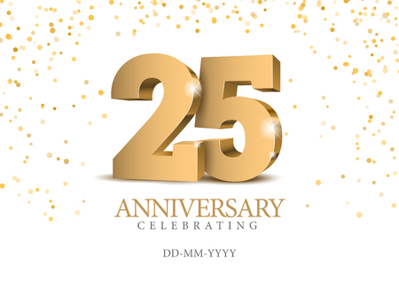 Rocznica 25. złote numery 3d. Szablon plakatu na obchody 25-lecia imprezy okolicznościowej. Ilustracja wektorowa