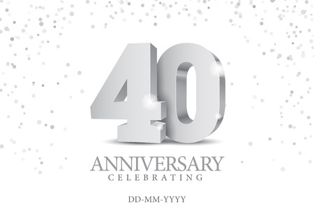 Anniversary 40. silver 3d numbers. Poster template for Celebrating 50th anniversary event party. Vector illustration