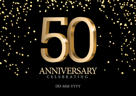 Anniversary 50. gold 3d numbers. Poster template for Celebrating 50th anniversary event party. Vector illustration Imagens