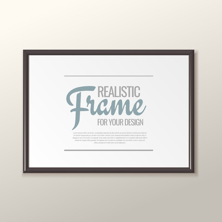 Realistic black frame for paintings or photographs. Vector illustration.