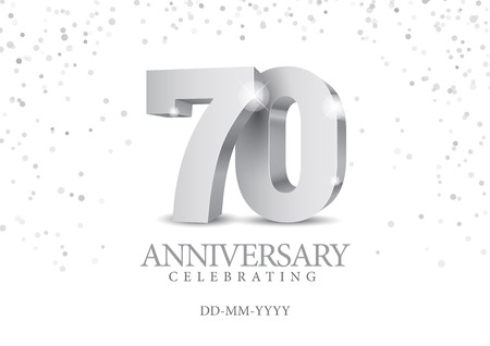 Anniversary 70. silver 3d numbers. Poster template for Celebrating 70th anniversary event party. Vector illustration Illustration