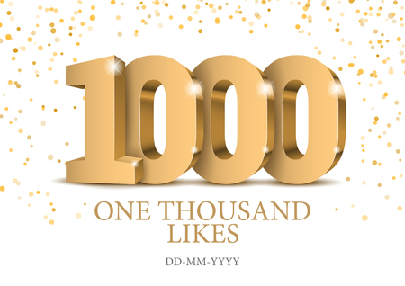 Anniversary or event 1000. gold 3d numbers. Poster template for Celebrating 1000th likes or folovers or subscribers event party. Vector illustration  イラスト・ベクター素材