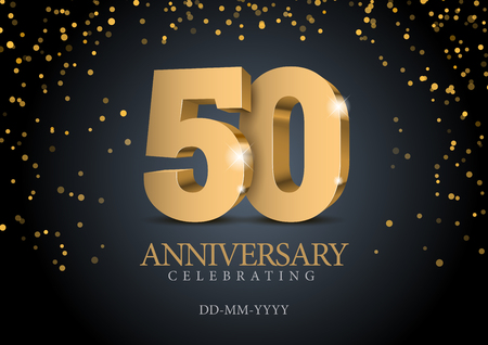 Anniversary 50. gold 3d numbers. Poster template for Celebrating 50th anniversary event party. Vector illustration Ilustração