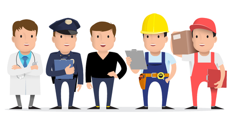 People are different professions. Labor Day. Doctor, builder, policeman, teacher, courier Flat style Vector illustration