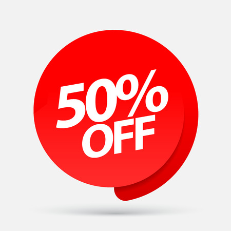 Sale of special offers. Discount with the price is 50 . An ad with a red tag for an advertising campaign at retail on the day of purchase. vector illustration Vektoros illusztráció