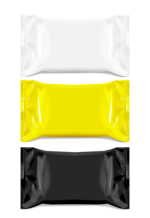 Realistic White, Black and Yellow Blank template Packaging Foil for wet wipes. realistic foil package. Package for food. Template For Mock up Your Design. 3D illustration. Vector illustration