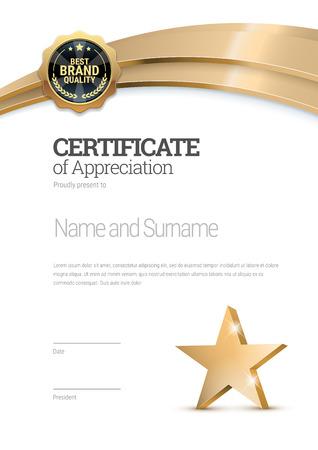 Certificate template. Diploma of modern design or gift certificate. Vector illustration. Vector Illustration